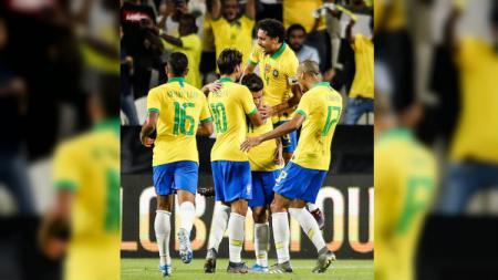 Selebrasil para pemain Brasil saat mencetak gol ke gawang Korea Selatan di pertandingan persahabatan, Selasa (19/11/19). - INDOSPORT