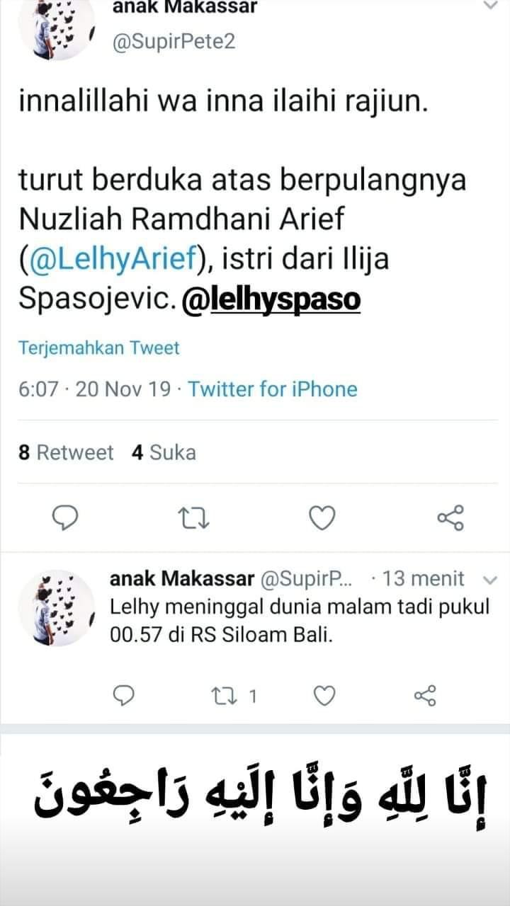 Istri Ilija Spasojevic penyerang Bali United, Lelhy Spaso dikabarkan meninggal dunia di RS Siloam, Bali, Selasa (19/11/19) malam. Copyright: Twitter/Anak Makassar