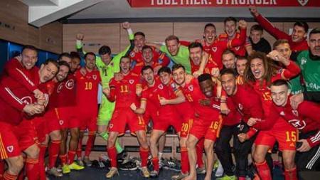 Wales menjadi tim terakhir yang lolos ke Euro 2020 lewat jalur kualifikasi grup usai mengalahkan Hungaria dengan skor 2-0, Rabu (20/11/19). - INDOSPORT