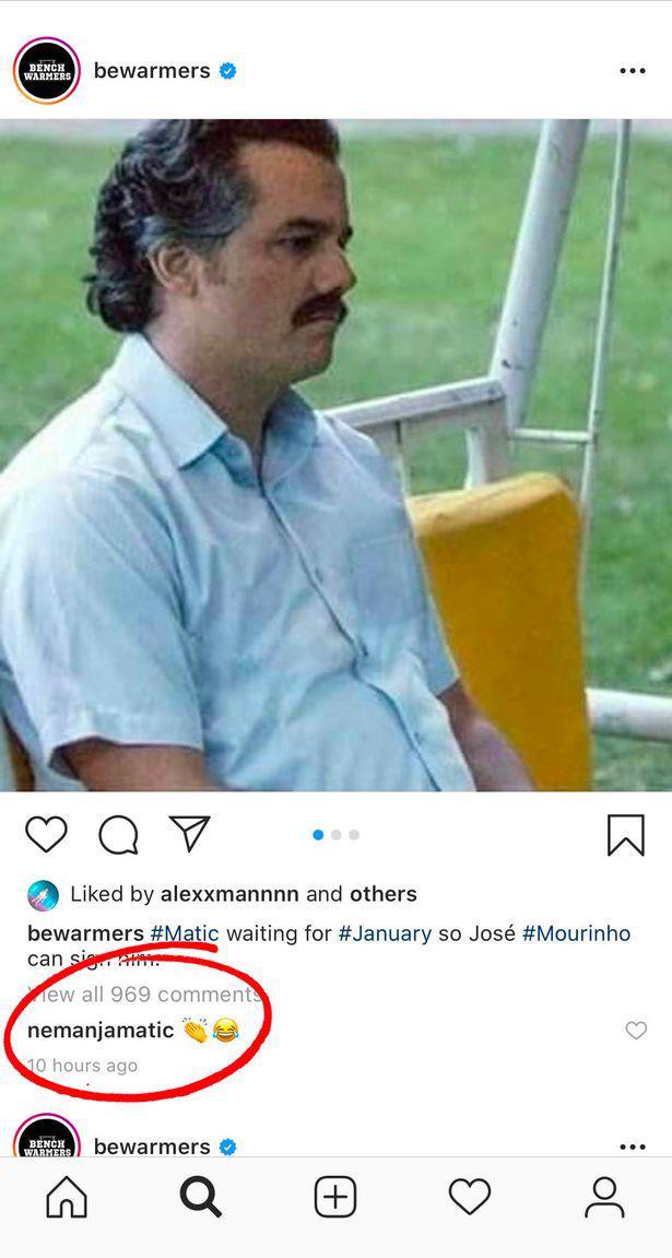Nemanja Matic menyukai postingan bahwa dirinya dirumorkan akan menyusul Jose Mourinho ke Tottenham Hotspur Copyright: Instagram/BenchWarmers
