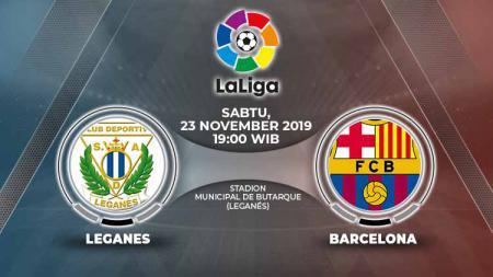 Laga pekan ke-14 LaLiga 2019/20 antara Leganes vs Barcelona, Sabtu (23/11/19), pukul 19.00 WIB, bisa disaksikan langsung lewat live streaming. - INDOSPORT
