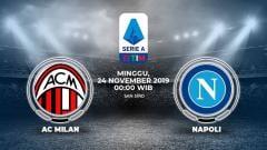 Indosport - Laga pekan ke-13 Serie A Italia antara AC Milan melawan Napoli, Minggu (24/11/19), pukul 00.00 WIB, bisa disaksikan secara langsung lewat live streaming.