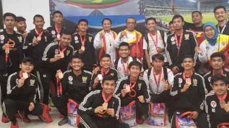 Timnas Pelajar Indonesia berhasil merebut peringkat tiga perhelatan 47th Asian Schools Football Championship 2019 usai mengalahkan Korea Selatan. - INDOSPORT