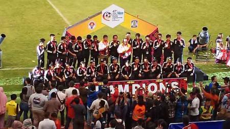 Timnas Pelajar Indonesia saat berhasil merebut peringkat ketiga 47th Asian Schools Football Championship 2019 usai mengalahkan Korea Selatan. - INDOSPORT
