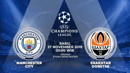 Link live streaming pertandingan kelima Liga Champions antara Manchester City vs Shakhtar Donetsk, Rabu (27/11/19) dini hari WIB. - INDOSPORT