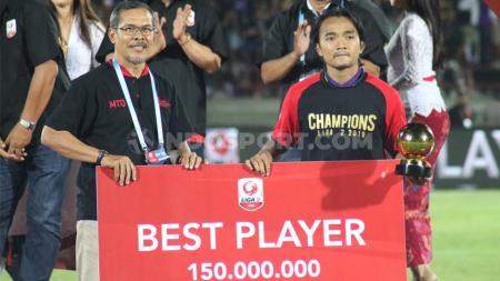 Pemain terbaik Liga 2 2019 yang kini bermain bersama Persita Tangerang, Taufiq Febriyanto nyatanya belum terpakai di kasta tertinggi sepak bola Indonesia, Liga 1 2020. - INDOSPORT