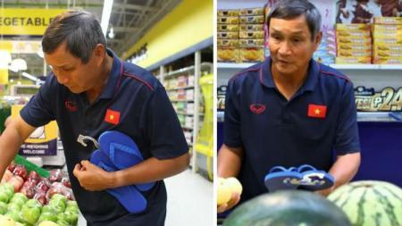 Pelatih timnas sepak bola putri Vietnam, Mai Duc Chung, terpaksa mengunjungi supermarket untuk membeli makanan karena layanan logistik di SEA Games 2019 sangat mengecewakan. - INDOSPORT