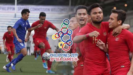 Timnas Indonesia U-23 berhasil menuntaskan misi menang membantai Brunei U-23 di Grup B Sepak Bola SEA Games 2019, sekaligus menyalip Thailand di papan klasemen. - INDOSPORT