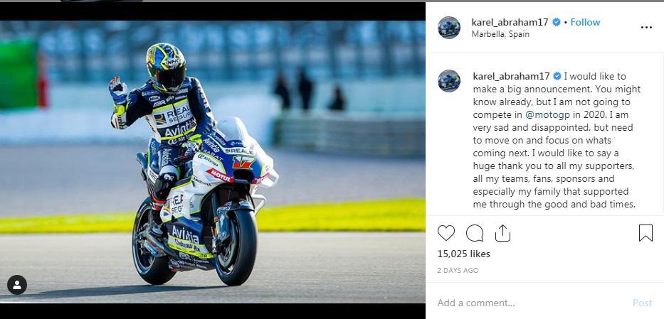 Curhatan Karel Abraham, pembalap kawakan MotoGP Copyright: Instagram @karel_abraham17
