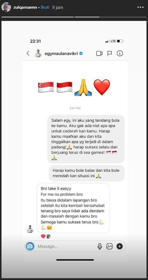 Pemain Timnas Singapura meminta maaf pada Egy Maulana Vikri atas insiden di SEA Games 2019. Copyright: Instagram/Zulqarnaenn