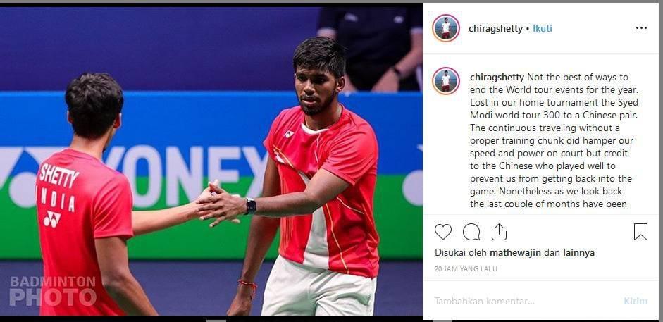 Unggahan Chirag Shetty yang kecewa dengan pencapaian World Tour tahun ini. Copyright: Instagram @chiragshetty