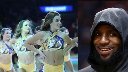Laker Girls dan pemain megabintang tim NBA, LA Lakers, LeBron James - INDOSPORT