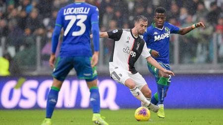 Hasil pertandingan pekan ke-14 Serie A Liga Italia yang mempertemukan Juventus vs Sassuolo berakhir dengan hasil imbang 2-2 untuk kedua tim. - INDOSPORT