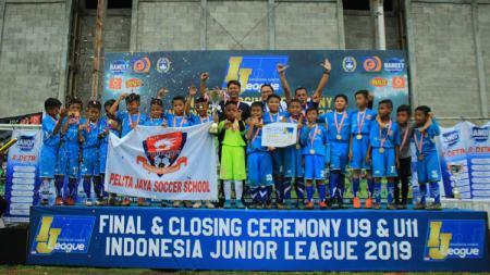 Pelita Jaya Soccer School juara IJL 2019 usai menekuk FIFA Farmel dengan skor tipis 1-0 di final. - INDOSPORT