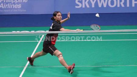 Pebulutangkis tunggal putri Indonesia, Gregoria Mariska berhasil menang atas wakil Thailand, Busanan Ongbamrungphan di babak kedua Thailand Masters 2020. - INDOSPORT