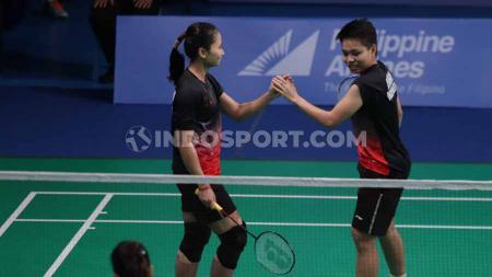 Ni Ketut/Apriyani berhasil mengalahkan wakil dari Thailand Prajongjai/Supajirakul pada Final di Muntinlipa Sport Complex, Manila, Selasa (03/12/19). - INDOSPORT