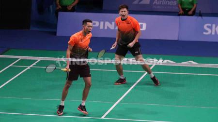 Ganda Putra Indonesia Wahyu Nayaka Arya Pangkaryanira/Ade Yusuf Santoso berhasil mengalahkan pasangan Malaysia Ong Yew Sin/Teo Ee Yi pada Final SEA Games Filipina 2019, Rabu (04/12/19). - INDOSPORT