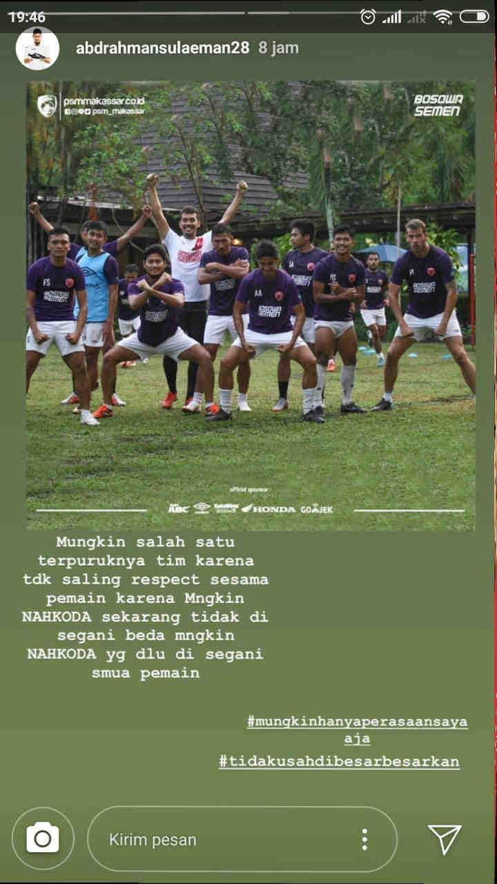 Unggahan story dari Instagram pemain PSM Makassar, Abdul Rahman. Copyright: Insta Story Abdul Rahman
