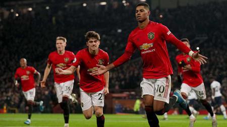 Klub Liga Inggris, Manchester United, berniat mencari pengganti sementara Marcus Rashford sampai akhir musim 2019-2020. Matthew Aston/GettyImages. - INDOSPORT