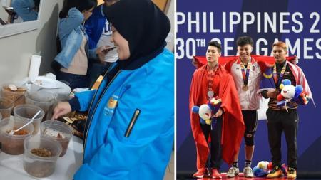 Atlet Indonesia disajikan makanan Orek Tempe di SEA Games 2019 - INDOSPORT
