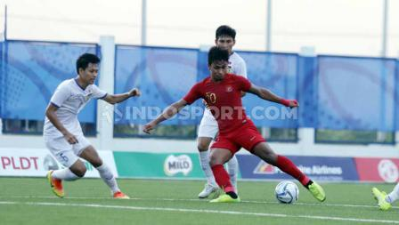 Osvaldo Haay di pertandingan antara Indonesia U-23 vs Laos U-23 SEA Games Filipina 2019, Kamis (05/12/19).