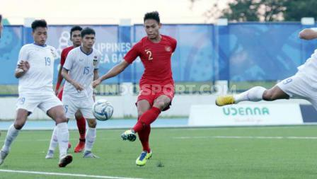 Andy Setyo di pertandingan antara Indonesia U-23 vs Laos U-23 SEA Games Filipina 2019, Kamis (05/12/19).