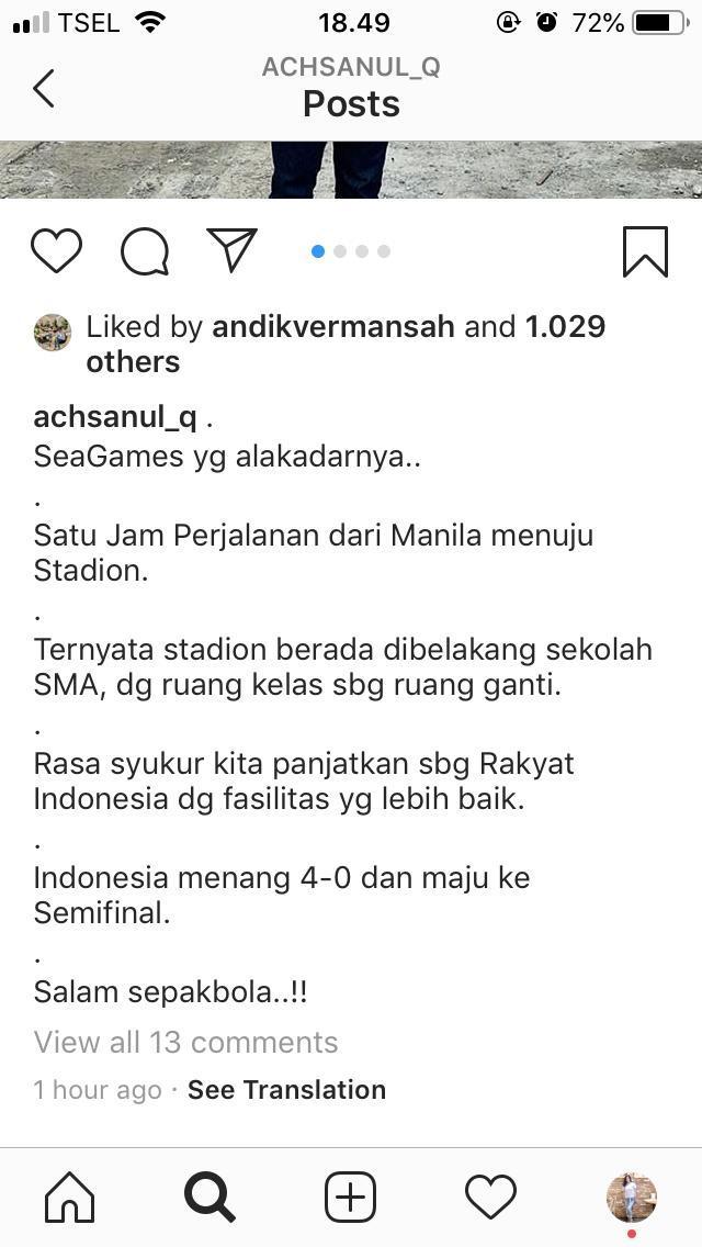 Bos MU Soroti Kondisi Miris Venue Timnas Indonesia vs Laos di Stadion Sekolah Copyright: Instagram Achsanul Qosasih