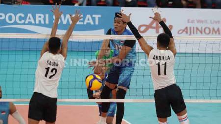 Timnas Bola Voli Indonesia menang 3-0 atas Filipina dalam laga terakhir babak penyisihan SEA Games 2019 di Philsport Arena, Jumat (06/12/19). Indonesia lolos ke semifinal dengan status juara grup ditemani tuan rumah. - INDOSPORT