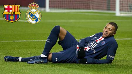 Dua klub Liga Spanyol, Barcelona dan Real Madrid saling sikut demi Kylian Mbappe. - INDOSPORT