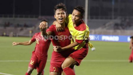 Selebrasi pemain Timnas Indonesia U-23, Osvaldo Haay usai mencetak gol ke gawang Myanmar U-23 di babak semifinal SEA Games 2019, Sabtu (07/12/19).