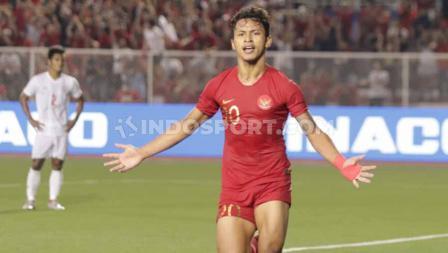 Selebrasi pemain Timnas Indonesia U-23, Osvaldo Haay usai mencetak gol ke gawang Myanmar U-23 babak semifinal SEA Games 2019, Sabtu (07/12/19).