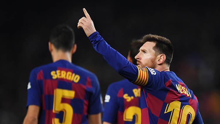 Pemain megabintang sekaligus kapten Barcelona, Lionel Messi mencetak hattrick dalam pertandingan LaLiga Spanyol 2019-2020 pekan ke-16 saat melawan Mallorca Copyright: Alex Caparros/GettyImages