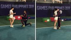 Indosport - Aksi Romantis Petenis Filipina yang Melamar Kekasihnya di SEA Games 2019