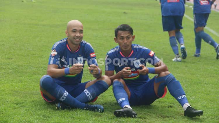 Selebrasi pemain PSIS Semarang usai membobol gawang Arema FC di Shopee Liga 1 2019. Copyright: Alvin Syaptia Pratama/INDOSPORT