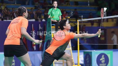 Pasangan ganda campuran Indonesia, Praveen Jordan/Melati Daeva Oktavianti berhasil menang atas pasangan Chinese Taipei Lee Yang/Yang Ching Tun di Indonesia Masters 2020. - INDOSPORT