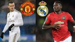 Indosport - Pemain Real Madrid, Gareth Bale (kiri) dikabarkan siap dijadikan opsi tukar dengan bintang klub Liga Inggris, Manchester United, Paul Pogba
