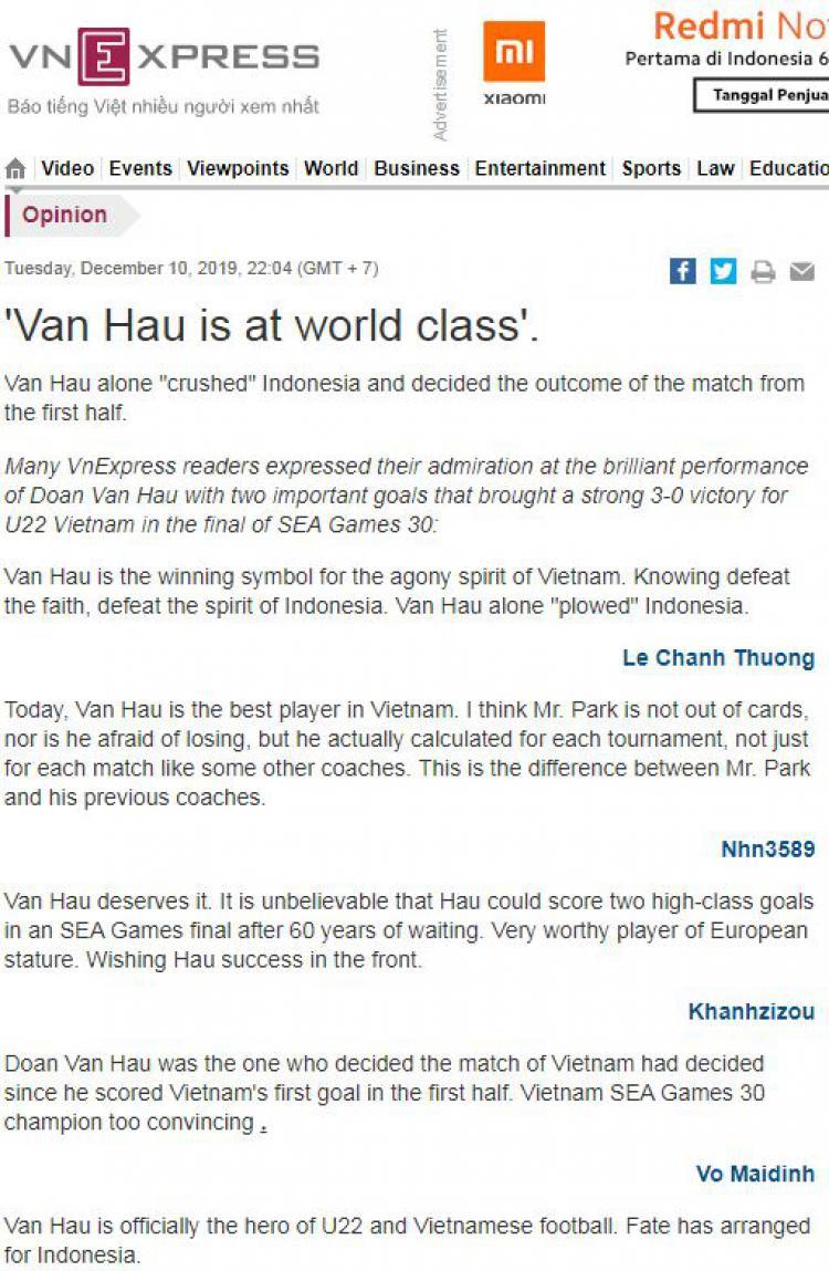Hancurkan Kaki Evan Dimas, Media Vietnam: Van Hau Pemain Kelas Dunia Copyright: vnexpress.net
