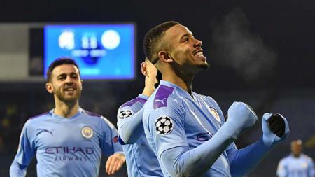 Selebrasi pemain Manchester City, Gabriel Jesus saat mencetak hattrick di pertandingan Liga Champions 2019-2020 Grup C melawan Dinamo Zagreb. - INDOSPORT