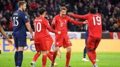 Indosport - Selebrasi pemain Bayern Munchen usai hempaskan Tottenham Hotspur di Liga Champions 2019-2020.