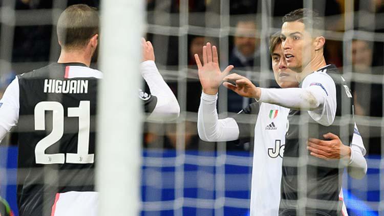 Selebrasi Cristiano Ronaldo usai menangkan Juventus atas Bayer Leverkusen di Liga Champions 2019-2020 Copyright: TF-Images/GettyImages