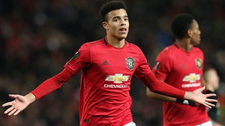 Striker muda Manchester United, Mason Greenwood berhasil mencetak rekor dengan masuk deretan 10 besar pencetak gol terbanyak di Liga Europa sepanjang musim ini. - INDOSPORT