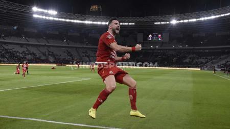 Selebrasi Simic di laga Liga 1 Persija vs Madura United. - INDOSPORT