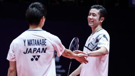 Pebulutangkis Yuta Watanabe mengaku sampai sulit berkata-kata usai mengalahkan pasangan Kevin Sanjaya/Marcus Gideon di final All England 2020. - INDOSPORT