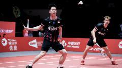 Indosport - Kevin Sanjaya Sukamuljo/Marcus Fernaldi Gideon di BWF World Tour Finals 2019.