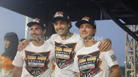 Tiga pembalap asal Prancis yakni Germain Vincenot, Sylvain Bidart, dan Maxime Lacour ikuti Trial Game Asphalt International Championship (TGAIC) 2019. - INDOSPORT