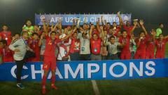 Indosport - Timnas Indonesia U-22 Juara Piala AFF U-22 2019.