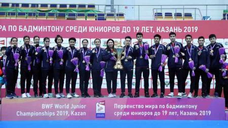 Indonesia juara pertama kali Kejuaraan Dunia Junior Bulutangkis 2019. - INDOSPORT