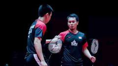Indosport - Ahsan-Hendra berhasil tampil perkasa dan menghempaskan wakil Chinese Taipei dua set langsung pada babak 16 besar ganda putra Malaysia Master 2020