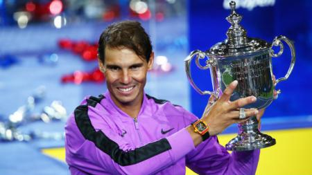 Rafael Nadal saat mengenakan jam tangan mahal di AS Terbuka 2019. - INDOSPORT