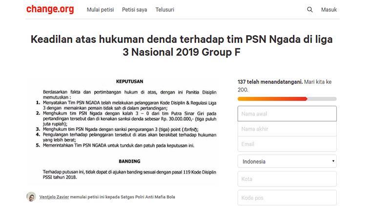 Muncul petisi pasca laga Putra Sinar Giri vs PSN Ngada di Liga 3 2019 Putaran Nasional 32 Besar. Copyright: change.org